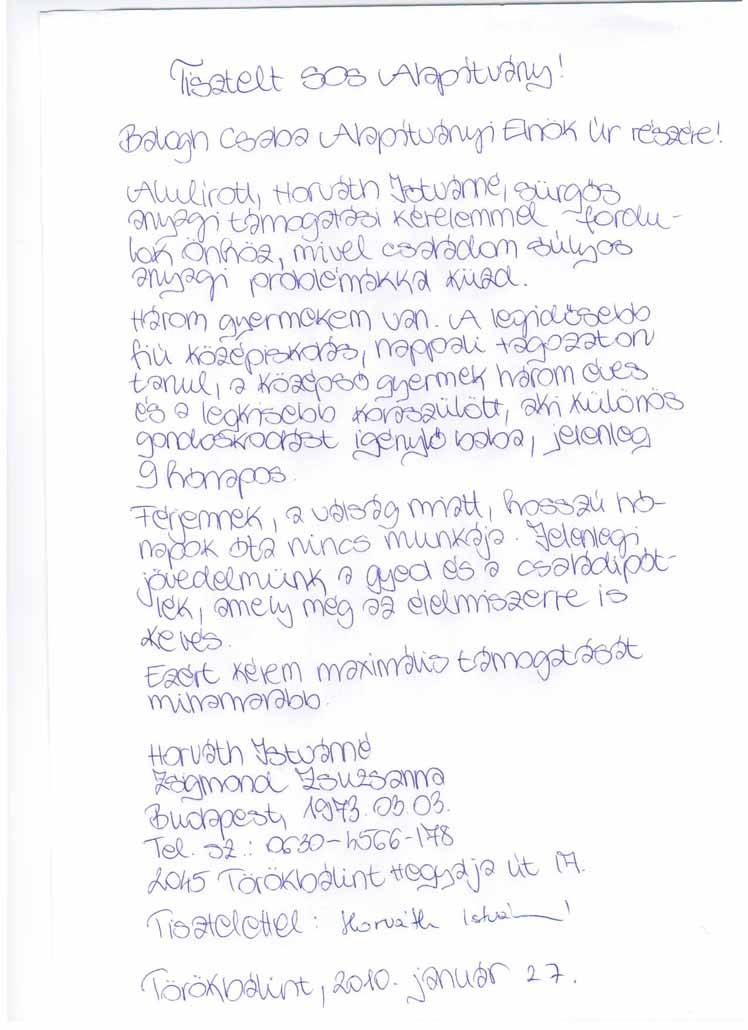 SOS Szolgálat Alapítvány Horváth Istvánné