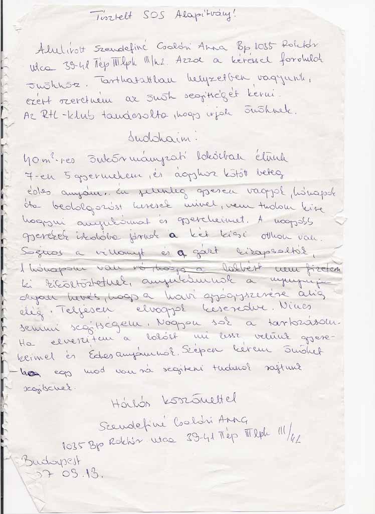 SOS Szolgálat Alapítvány Szendefiné Csalári Anna