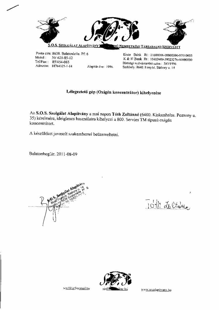 SOS Szolgálat Alapítvány Tóth Zoltánné