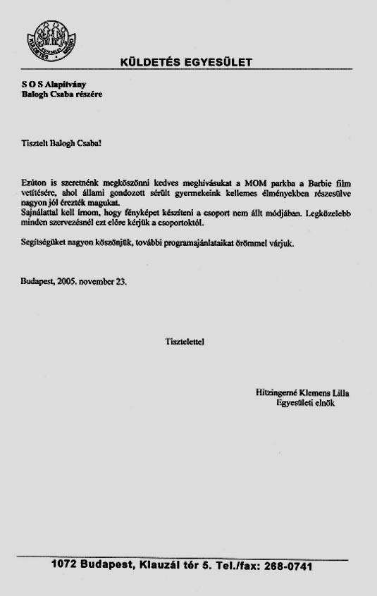 SOS Szolgálat Alapítvány Szélrózsa program Budapest