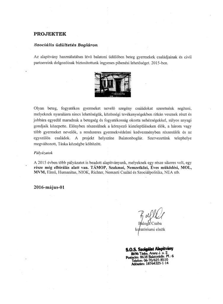 SOS Szolgálat Alapítvány Jegyzőkönyv 2015